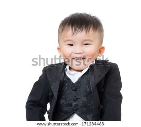 Business baby making funny face