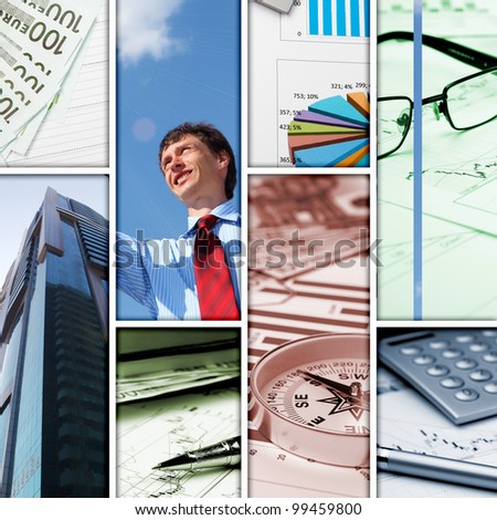 Business background collage of some business pictures - stock photo