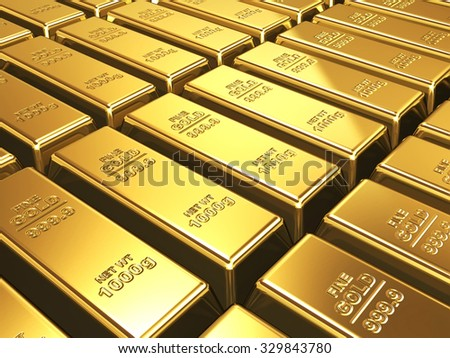 Business background - Gold bars closeup in stack