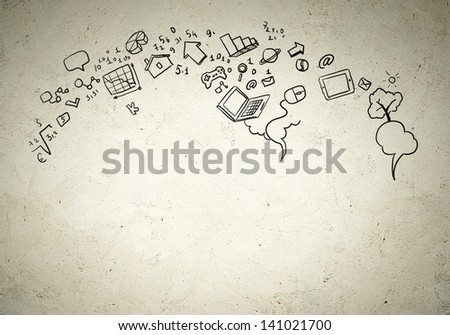 Business background image with drawn ideas and concepts. Collage - stock photo