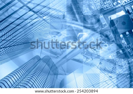 Business background in blues with buildings, graph and electronic device. - stock photo