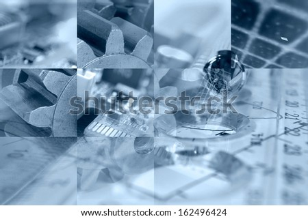 Business background in blues with electronic device and gear. - stock photo