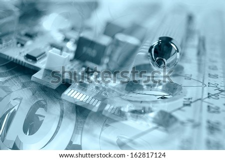 Business background in blues with electronic device and mail signs. - stock photo