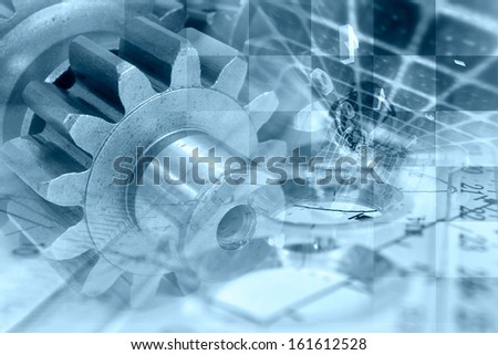 Business background in blues with gear and digits. - stock photo