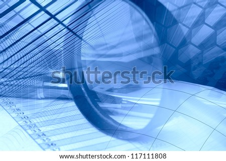 Business background in blues with graph, pen, buildings and magnifier. - stock photo