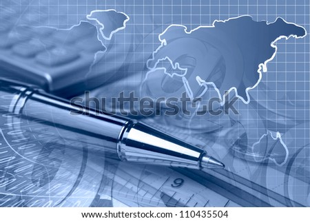 Business background in blues with graph, ruler, pen, buildings and calculator. - stock photo