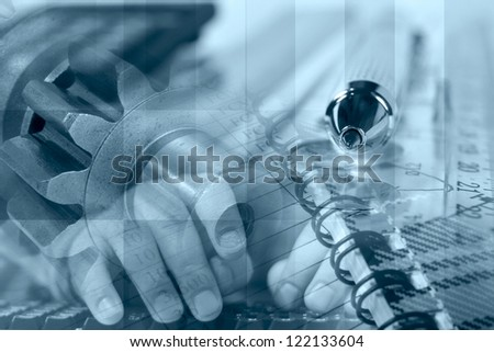 Business background in blues with hands, buildings and mail signs. - stock photo