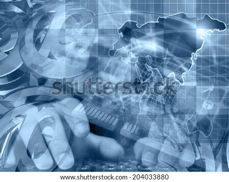 Business background in blues with map, electronic device and mail signs. - stock photo