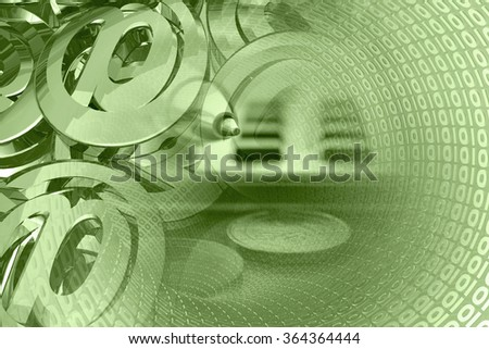 Business background in greens with money, calculator and pen. - stock photo