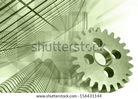 Business background in greens with office buildings and gears. - stock photo