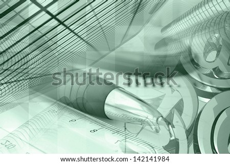 Business background in greens with pen, buildings and mail signs. - stock photo
