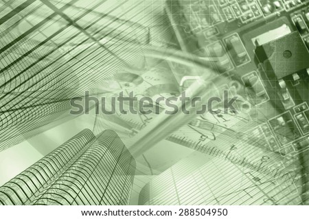 Business background in sepia with buildings, electronic device and glasses. - stock photo