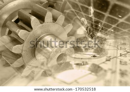 Business background in sepia with gear and digits. - stock photo