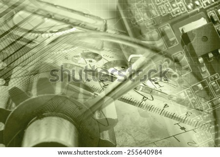 Business background in sepia with gear, graph and electronic device. - stock photo