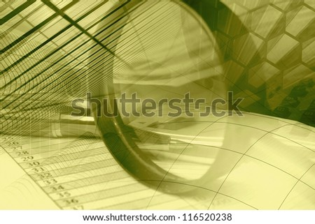 Business background in sepia with graph, pen, buildings and magnifier. - stock photo