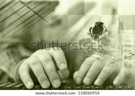 Business background in sepia with hands, keyboard and table. - stock photo