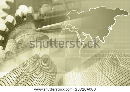 Business background in sepia with money, map and pen. - stock photo