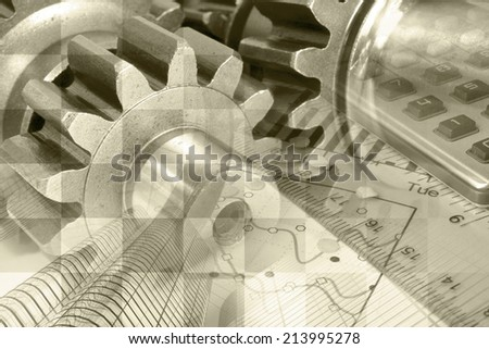 Business background in sepia with ruler, gear and table. - stock photo