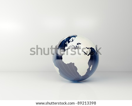 business background - light silver grey 3d globe - stock photo