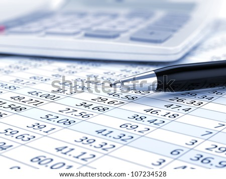 Business background, market analysis concept with financial data, pen and calculator - stock photo