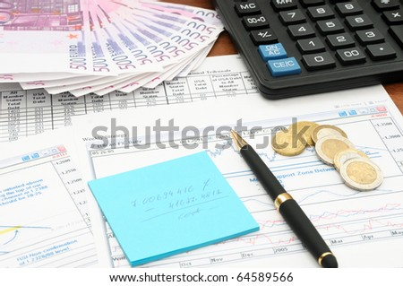 Business background, market analysis concept with money, financial data and calculator