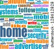 business background - protection in word collage, raster - stock photo