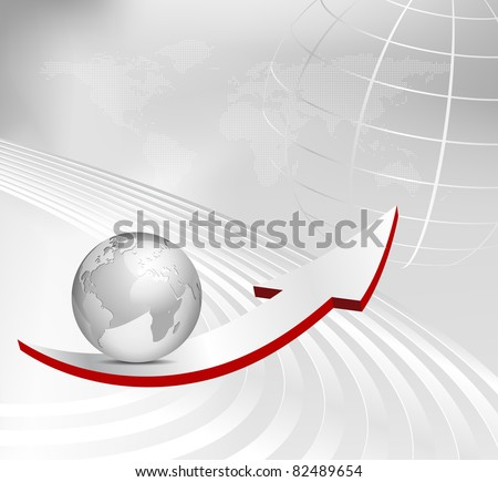 Business background with arrow, 3d globe and dotted world map - abstract gray corporate design - stock photo