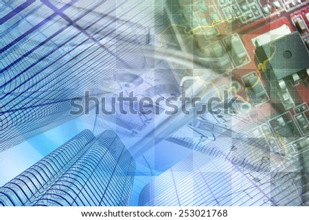 Business background with buildings, graph and electronic device. - stock photo
