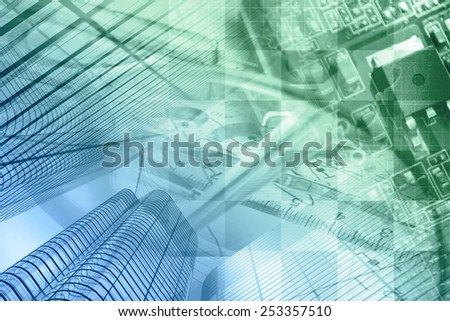 Business background with buildings, graph and electronic device, in greens and blues. - stock photo