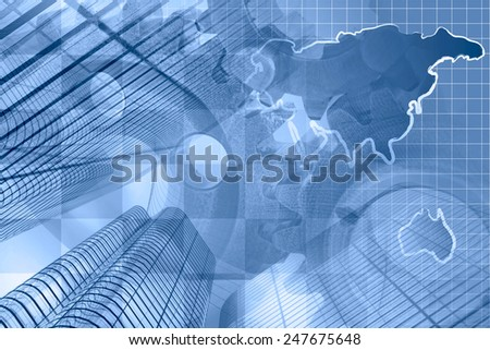 Business background with buildings, map and gear, blue toned. - stock photo