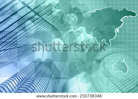 Business background with buildings, map and gear - in greens and blues. - stock photo