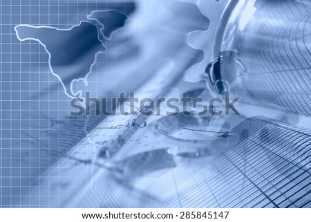 Business background with buildings, map and graph, blue toned.