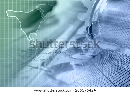 Business background with buildings, map and graph, in greens and blues.