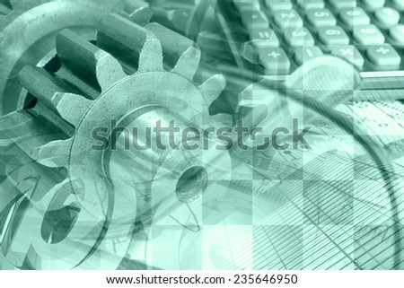 Business background with calculator, gear and graph, green toned. - stock photo