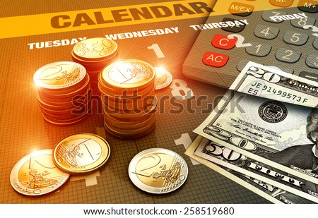 Business background with different currency - stock photo