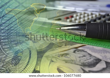 Business background with digits, ruler, calculator and pen. - stock photo