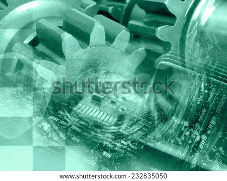 Business background with electronic device and digits, in greens. - stock photo