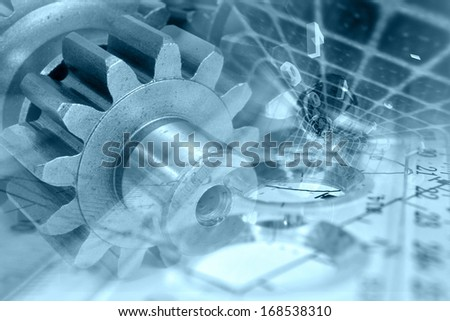 Business background with gear and digits, in blues. - stock photo