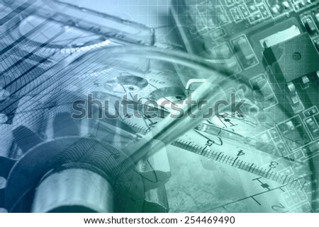 Business background with gear, graph and electronic device, in greens and blues. - stock photo