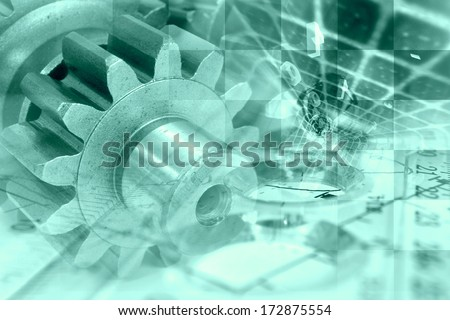 Business background with gears and graph, in greens. - stock photo