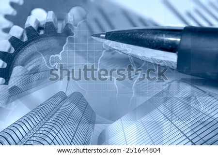 Business background with gears, buildings, map and pen, in blues. - stock photo