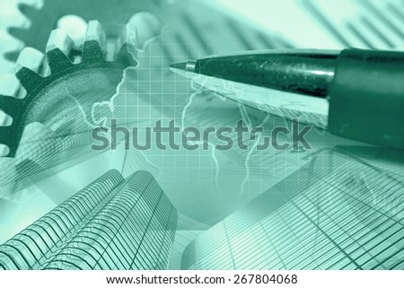 Business background with gears, map, buildings and pe, green toned. - stock photo