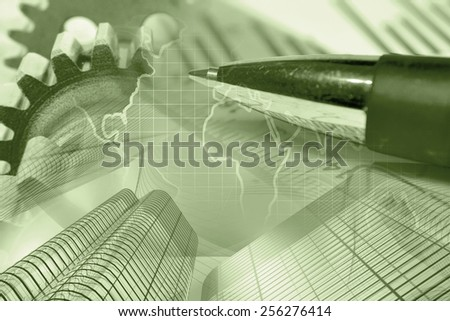 Business background with gears, map, buildings and pen, sepia toned. - stock photo