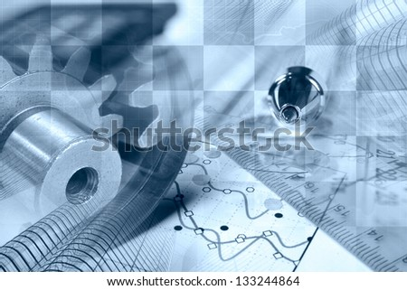 Business background with gears, pen and graph, blue toned. - stock photo