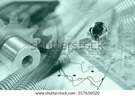 Business background with gears, pen and graph, green toned. - stock photo