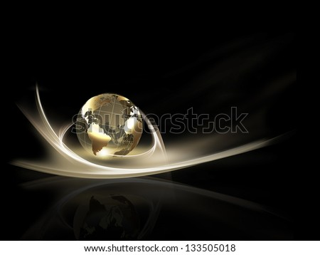 business background with golden planet against the dark - stock photo