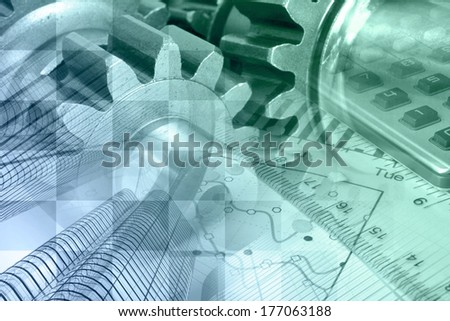Business background with graph, gear and buildings, in green and blues. - stock photo