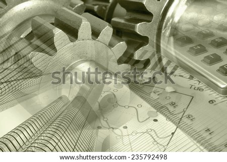 Business background with graph, gear and buildings, sepia toned. - stock photo