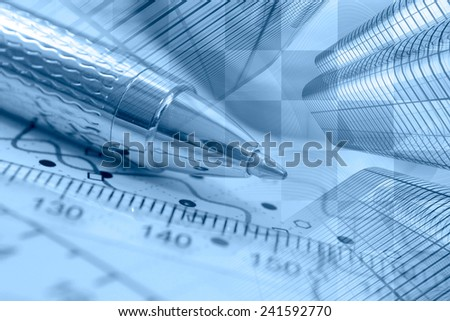 Business background with graph, ruler and pen, blue toned. - stock photo