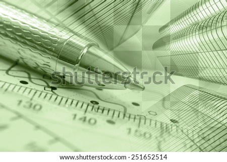 Business background with graph, ruler and pen, sepia toned. - stock photo